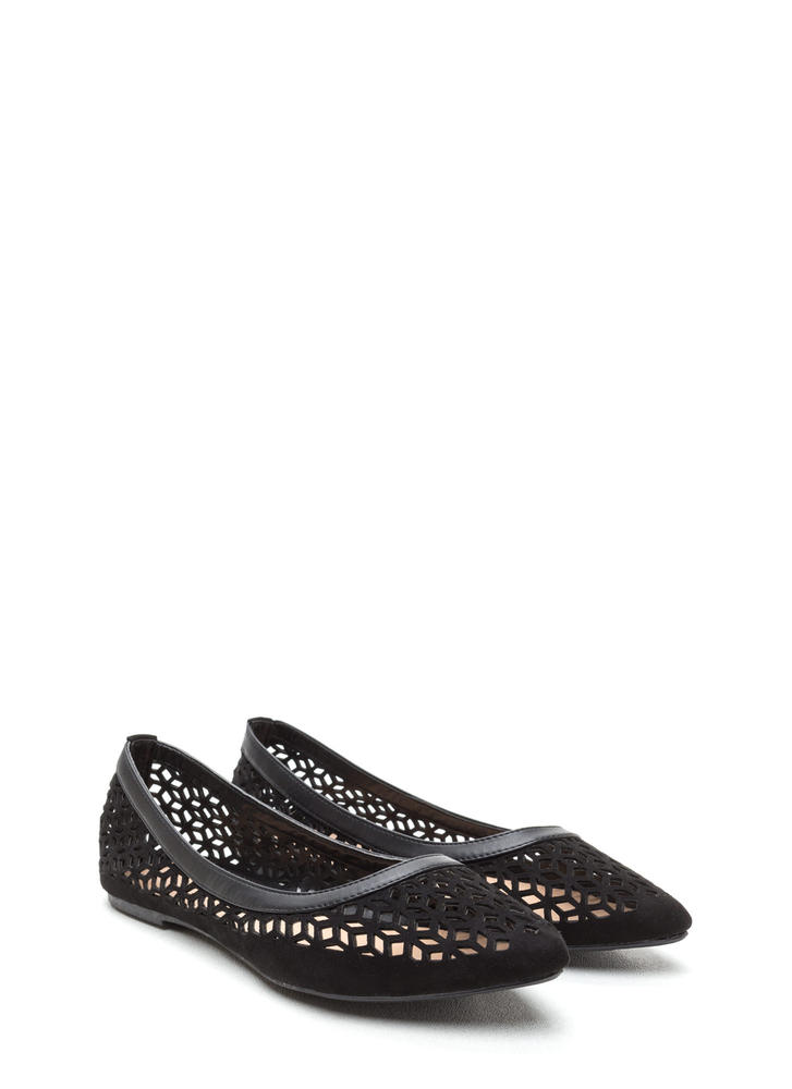Diamond Girl Cut-Out Pointy Flats BLACK