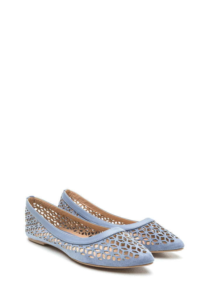 Diamond Girl Cut-Out Pointy Flats BLUE