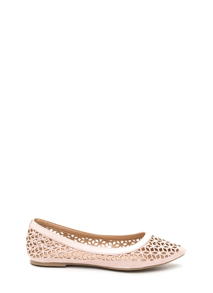 Diamond Girl Cut-Out Pointy Flats NUDE