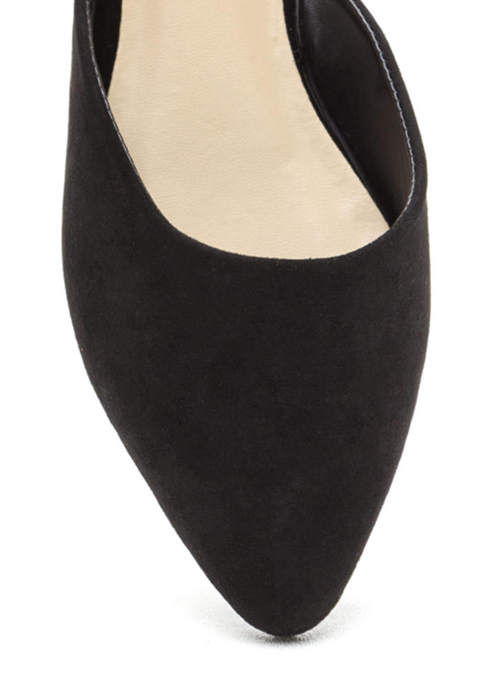 Point Taken Slip-On Faux Suede Flats BLACK
