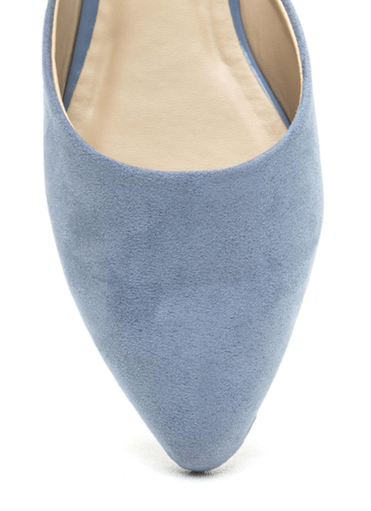 Point Taken Slip-On Faux Suede Flats BLUE