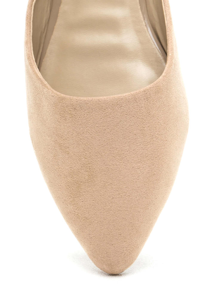Point Taken Slip-On Faux Suede Flats NATURAL
