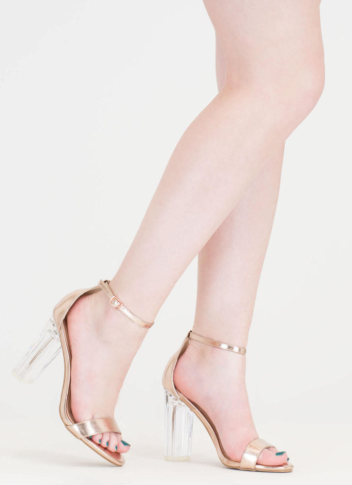 Metallic Magic Chunky Lucite Heels