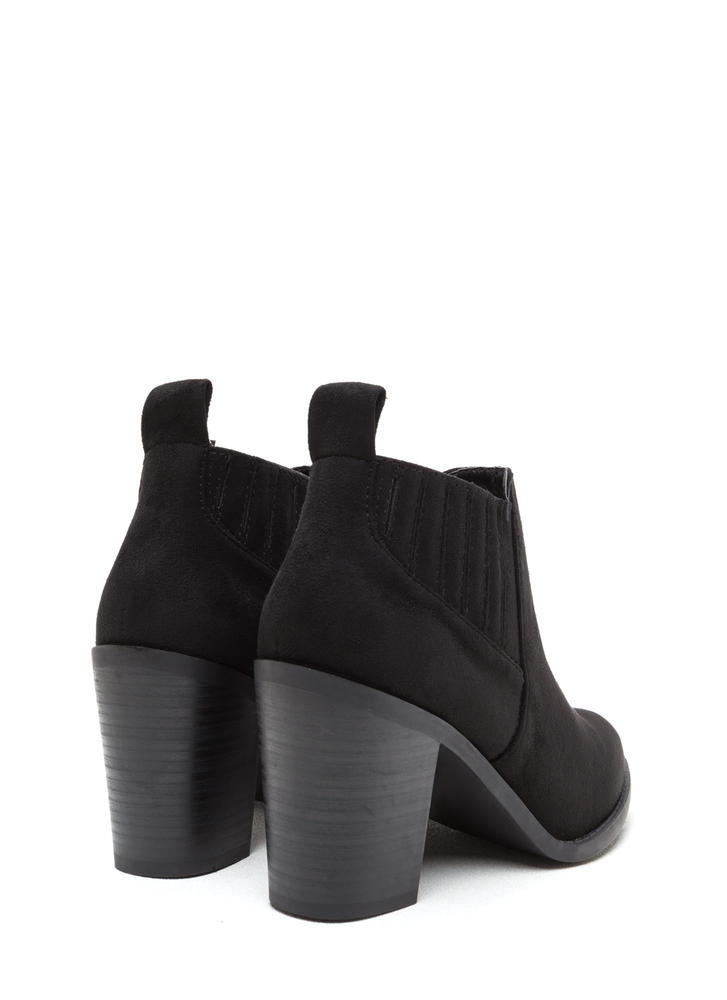 Style Edit Pointy Chunky Booties BLACK