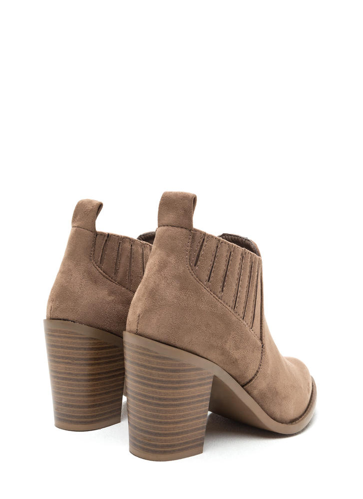 Style Edit Pointy Chunky Booties TAUPE