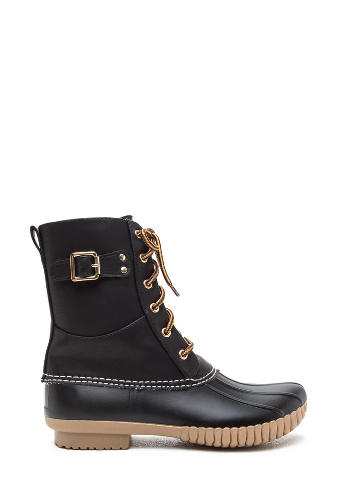 Buckle Up Laced Faux Leather Duck Boots