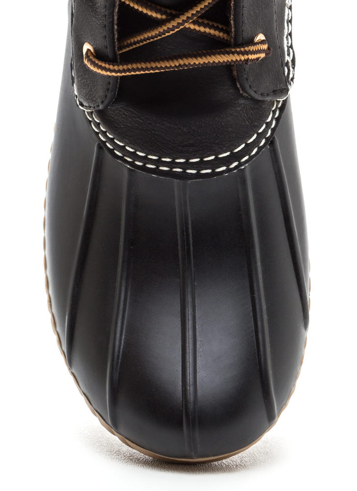 Buckle Up Laced Faux Leather Duck Boots BLACK