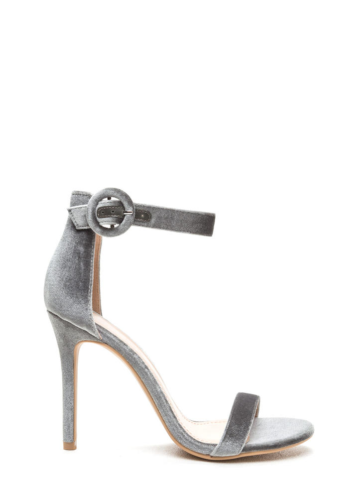 Dusk To Dawn Velvet Single Strap Heels GREY