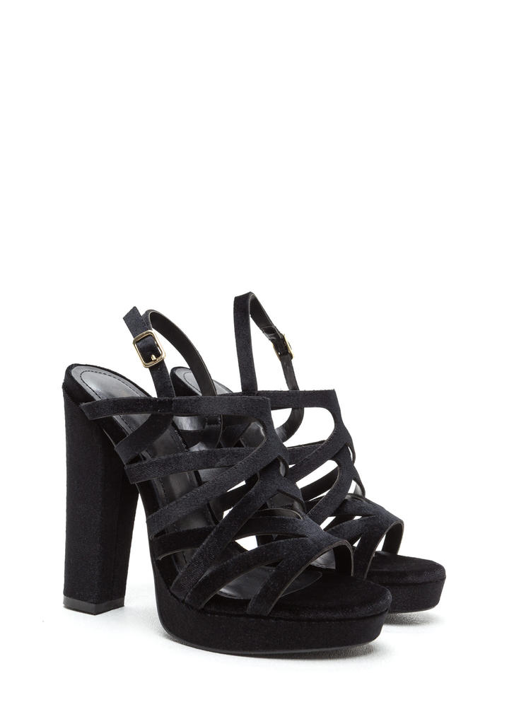 Glam Straight Chunky Caged Velvet Heels BLACK