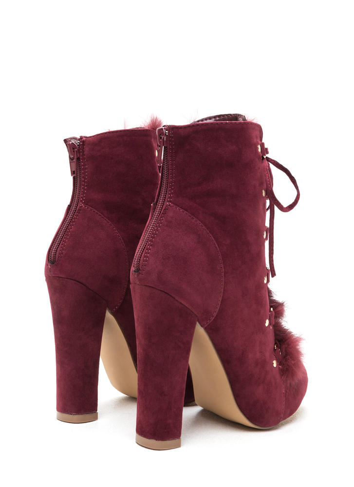 Fur Keeps Chunky Lace-Up Booties BURGUNDY