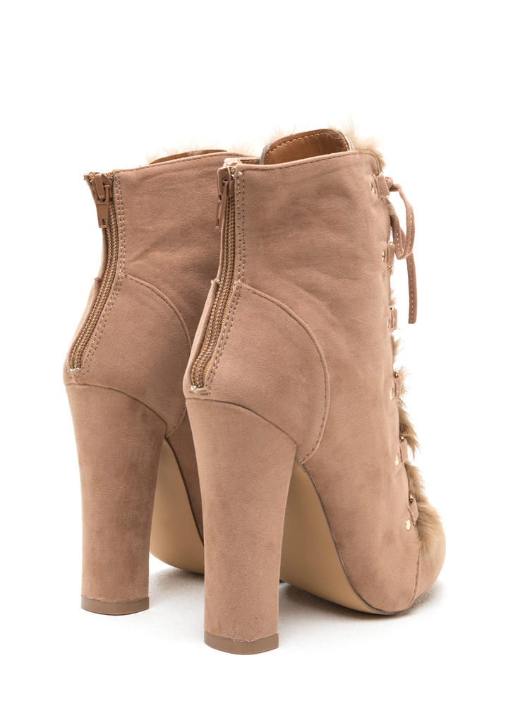Fur Keeps Chunky Lace-Up Booties TAUPE