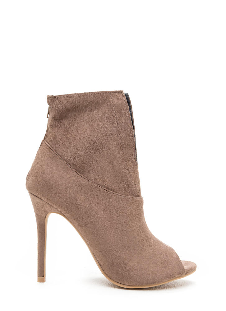 Slit Down Faux Suede Stiletto Booties