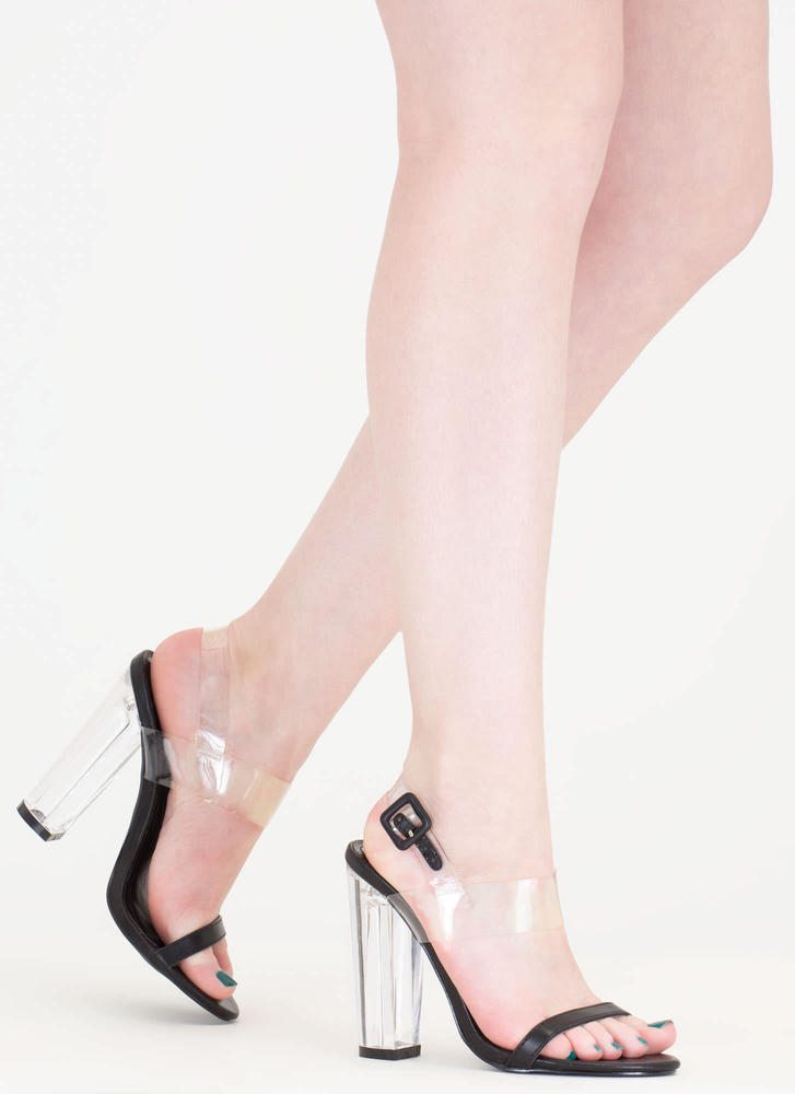 Clear The Way Chunky Faux Leather Heels BLACK