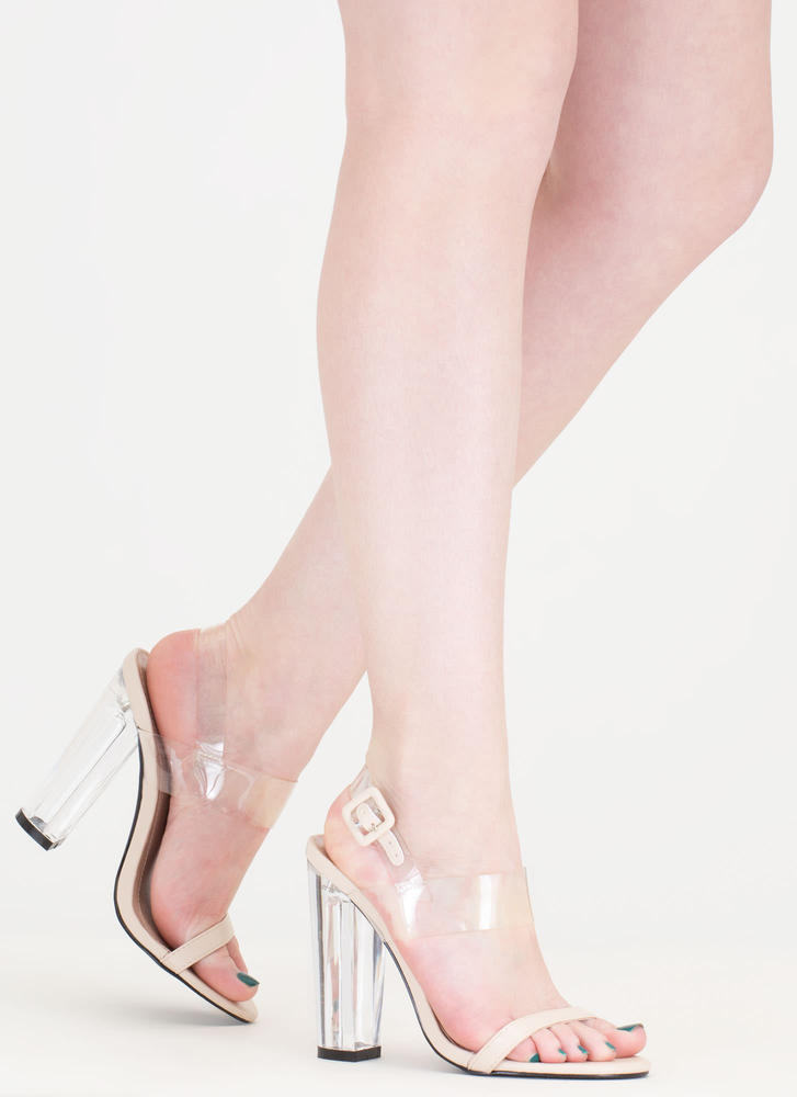 Clear The Way Chunky Faux Leather Heels NUDE