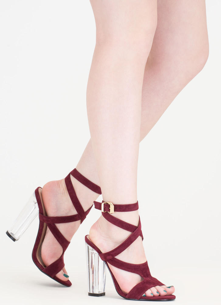 So Transparent Chunky Wraparound Heels BURGUNDY