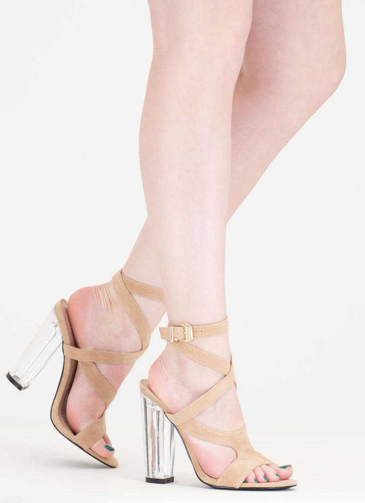 So Transparent Chunky Wraparound Heels NUDE