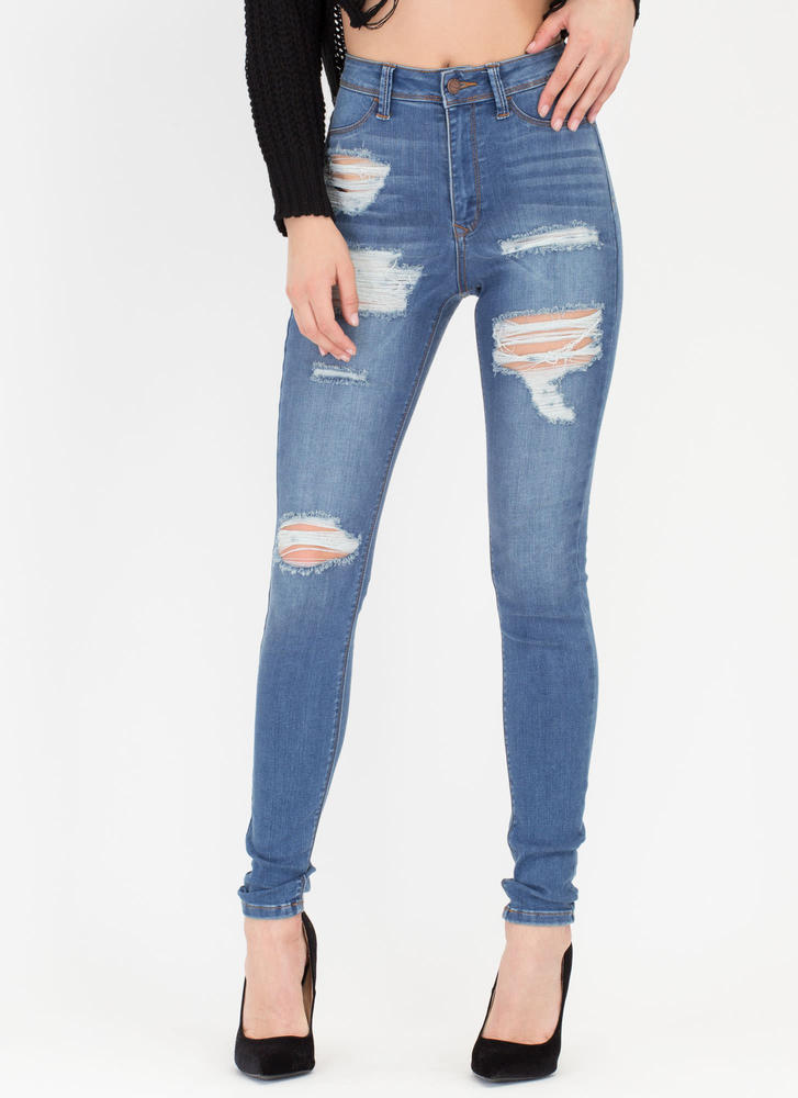 Daily Grind Distressed Skinny Jeans