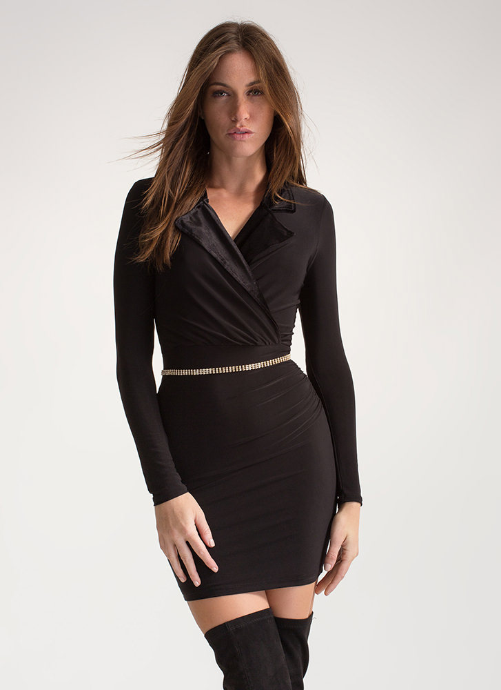 Velvet Touch Collared Ruched Minidress BLACK