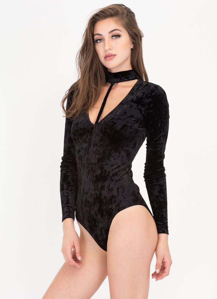 To A T Crushed Velvet Choker Bodysuit BLACK