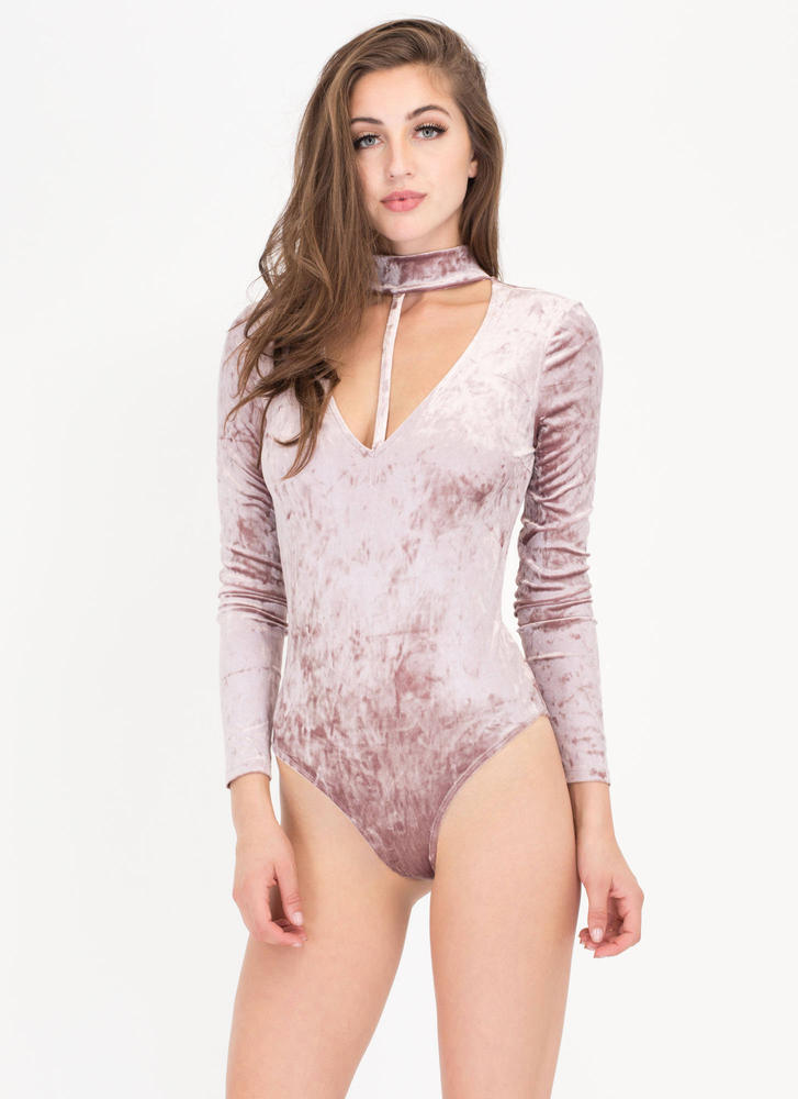 To A T Crushed Velvet Choker Bodysuit MAUVE
