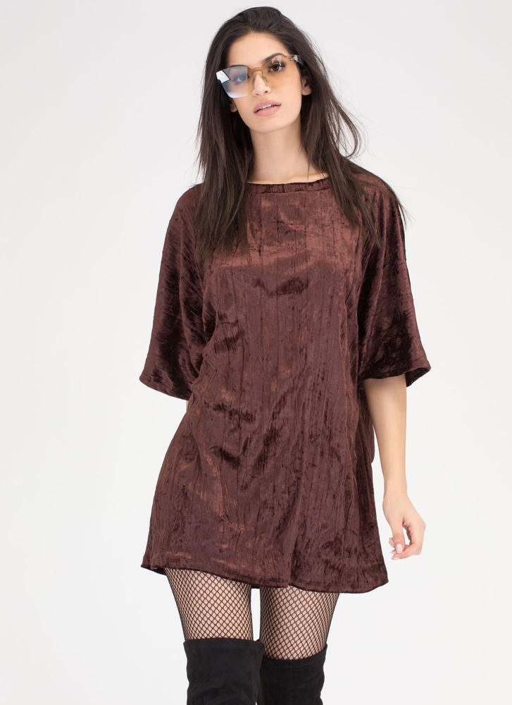 Crush Hour Crinkled Velvet Shirt Dress BROWN