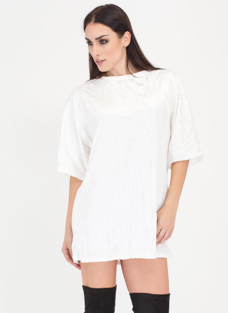 Crush Hour Crinkled Velvet Shirt Dress IVORY