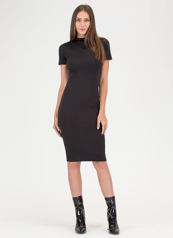 Feeling The High Neck Midi Dress BLACK