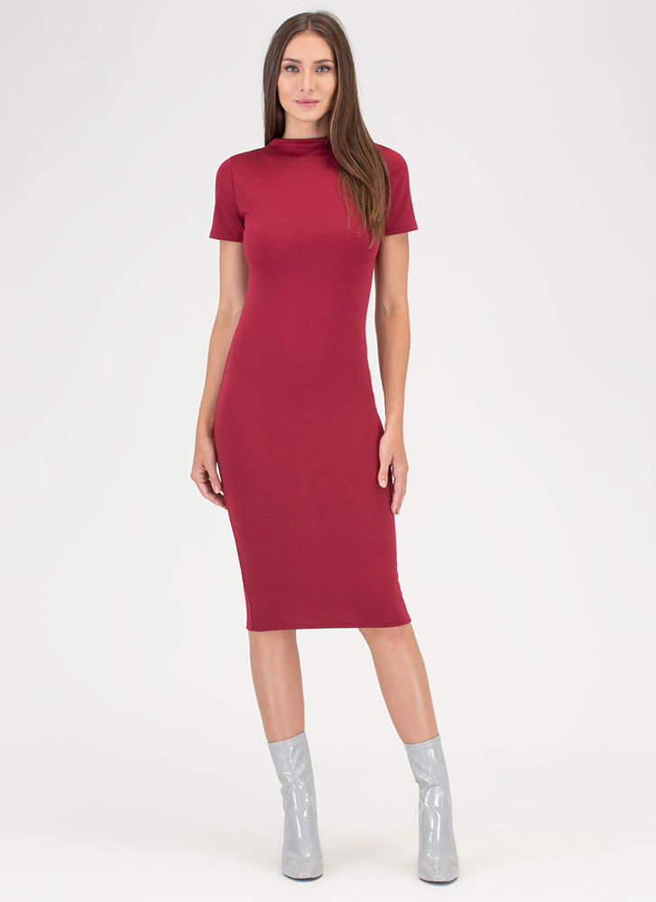 Feeling The High Neck Midi Dress BURGUNDY