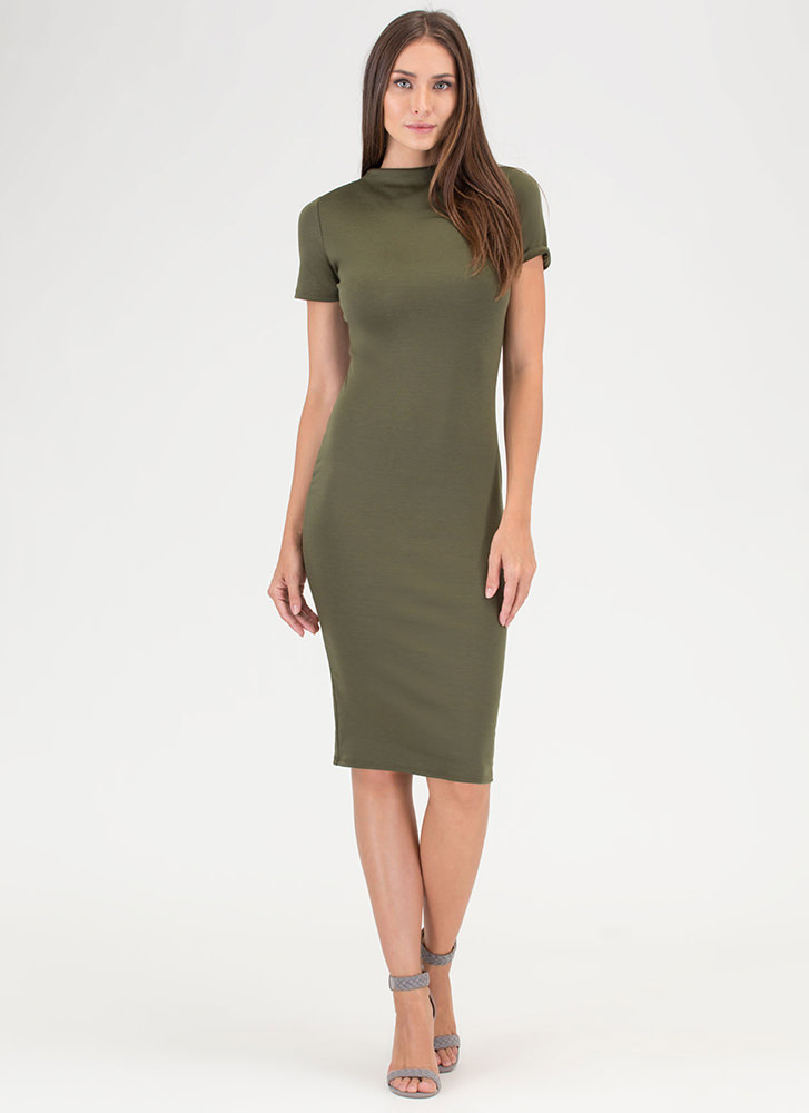 Feeling The High Neck Midi Dress OLIVE