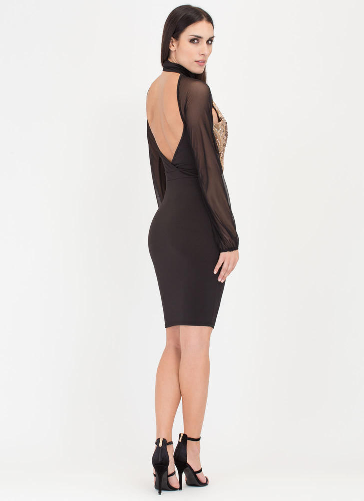 Sheer You On Sequined Midi Dress BLACKGOLD