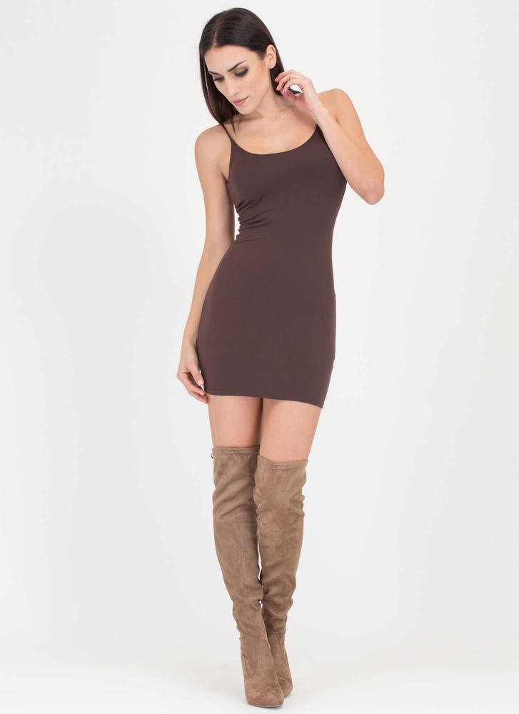 U Got This Scoop Tank Minidress BROWN