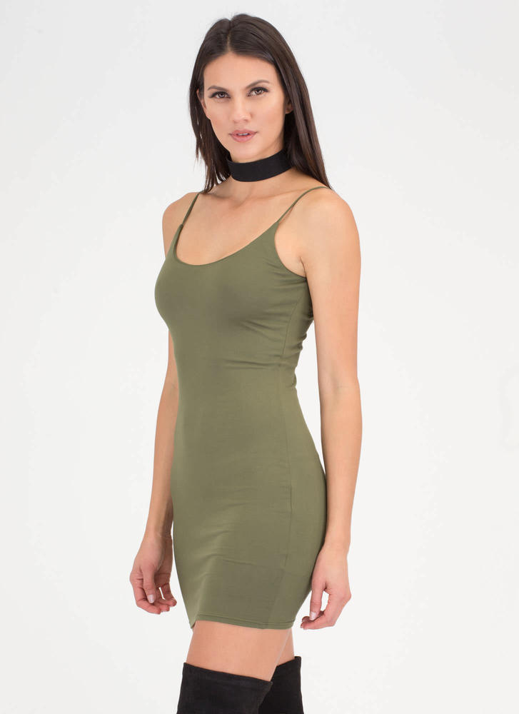 U Got This Scoop Tank Minidress OLIVE