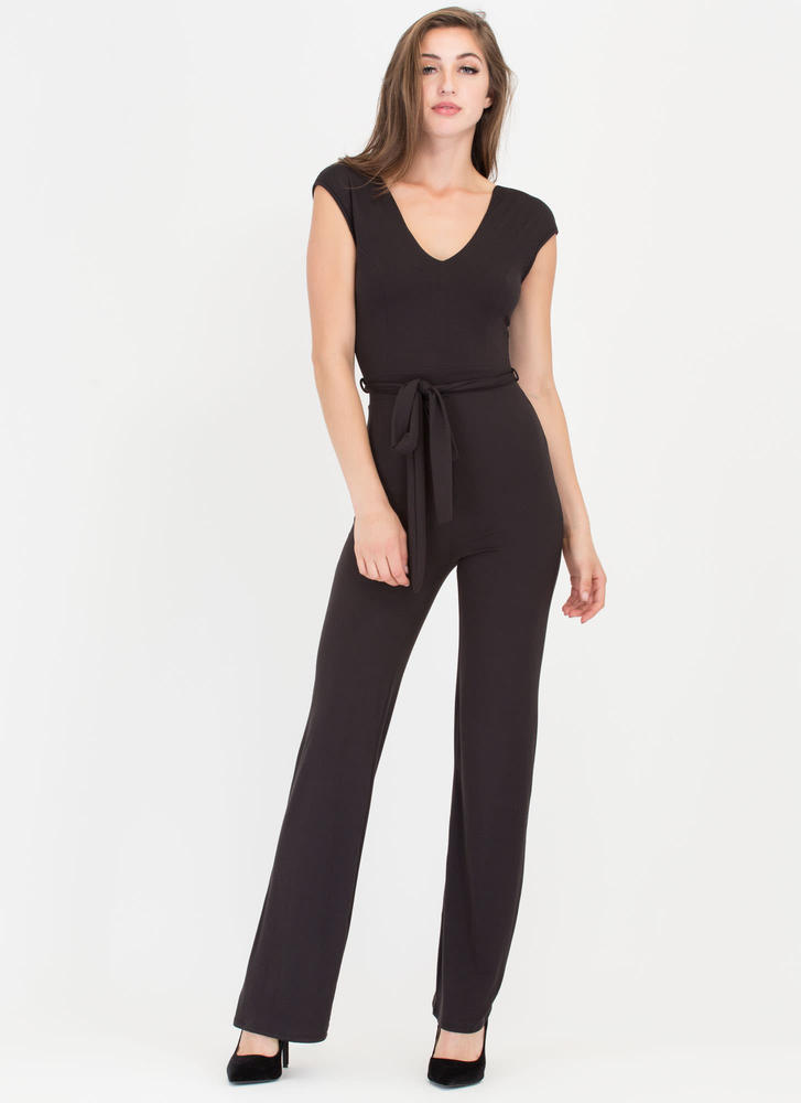 Love Me Now Belted Palazzo Jumpsuit BLACK