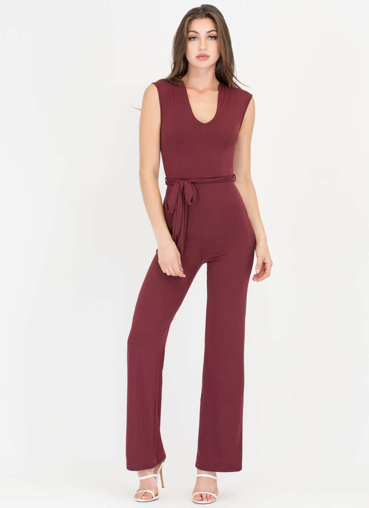 Love Me Now Belted Palazzo Jumpsuit WINE