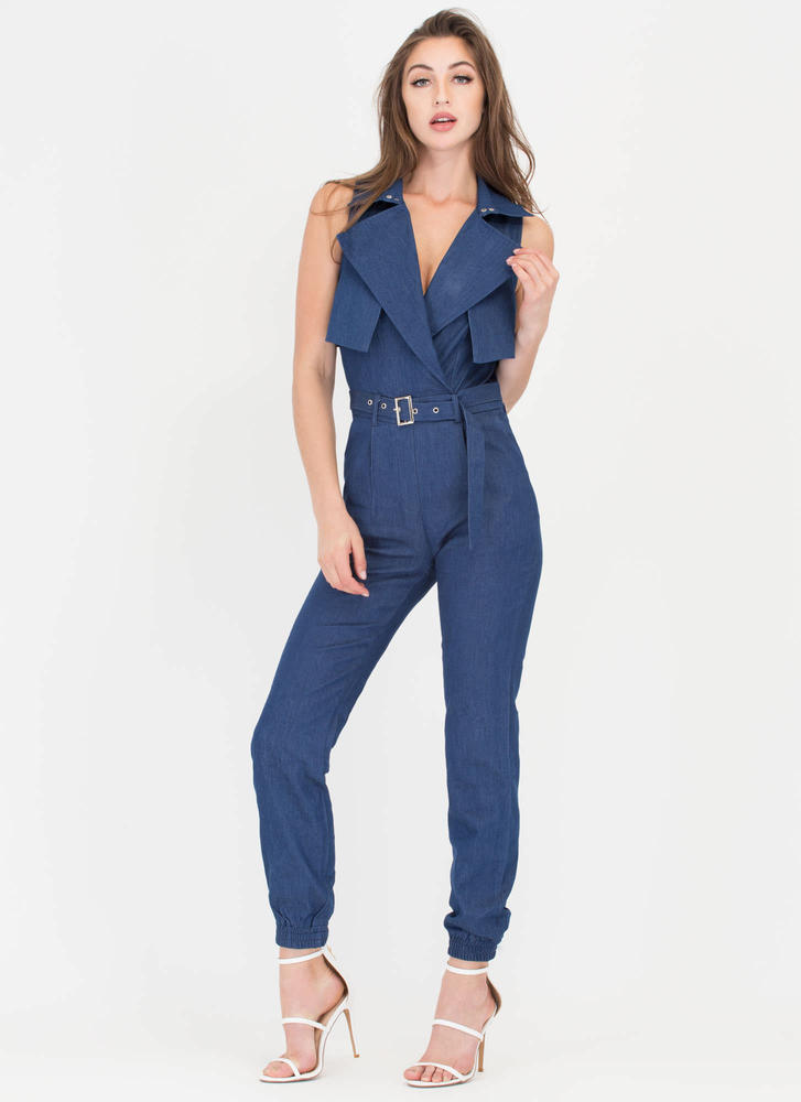 One Of A Kind Belted Denim Jumpsuit BLUE