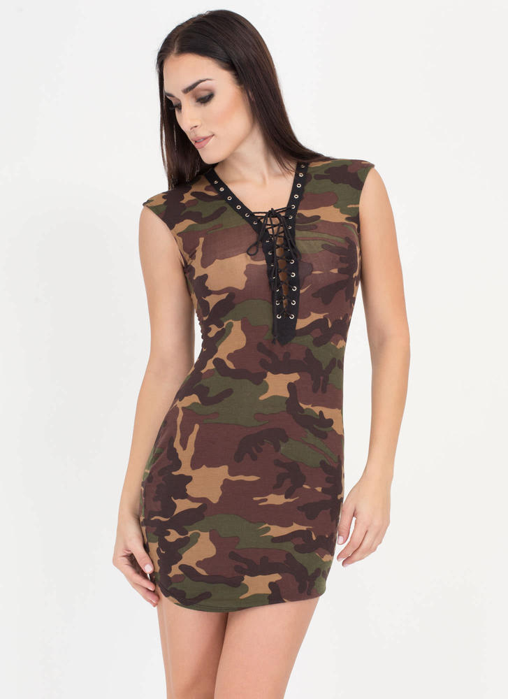 Atten-Hut Lace-Up Camo Cap Sleeve Dress