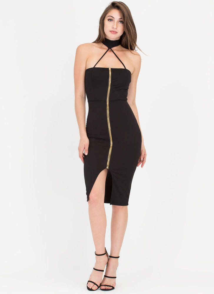 Dare It All Strappy Choker Midi Dress BLACK