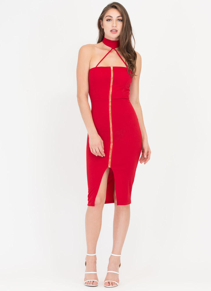 Dare It All Strappy Choker Midi Dress RED
