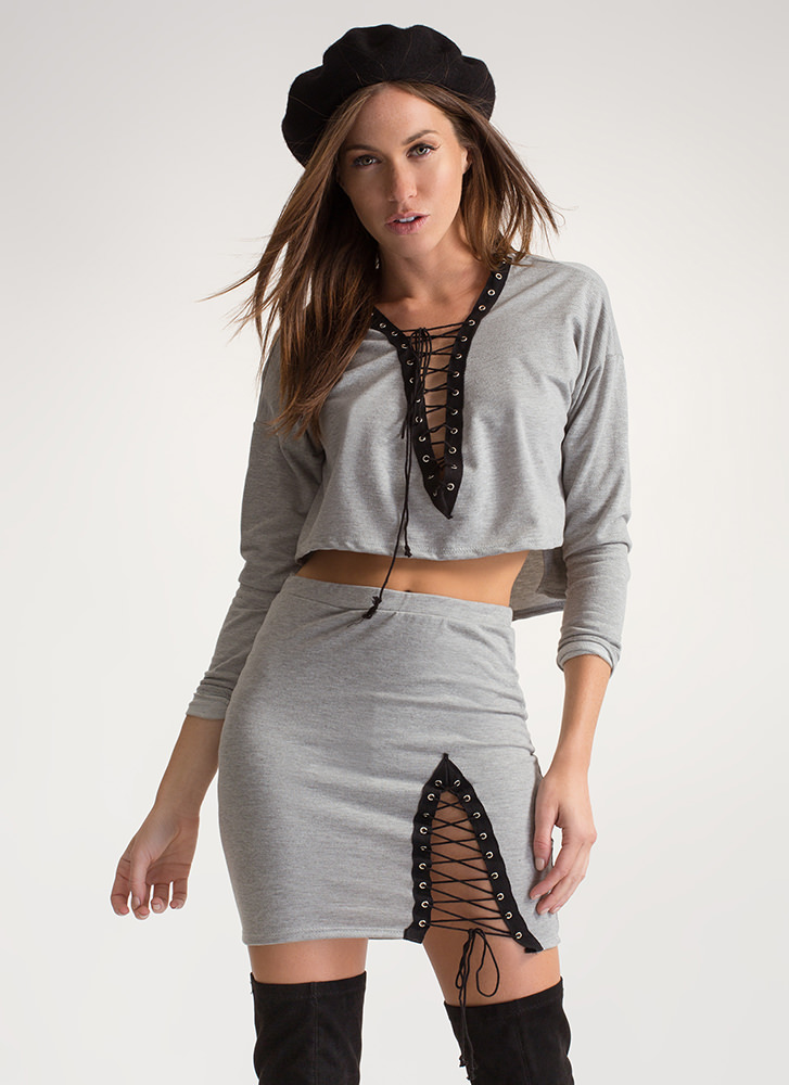 Laced It Good Knit Two-Piece Dress