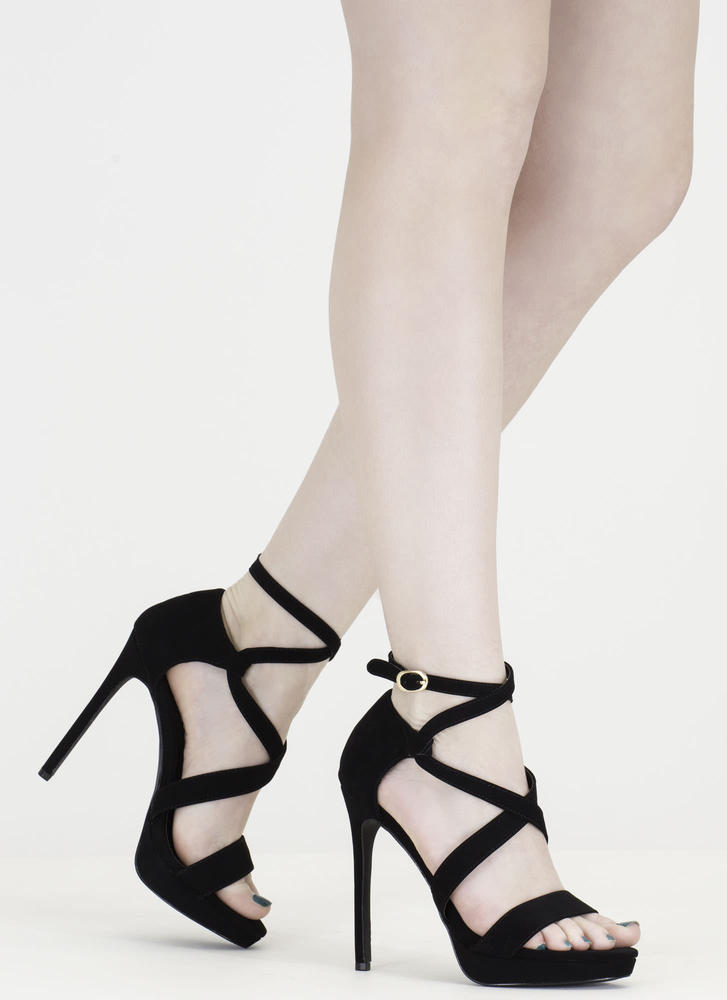 Oh Strappy Day Faux Nubuck Caged Heels
