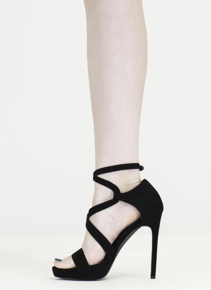 Oh Strappy Day Faux Nubuck Caged Heels BLACK