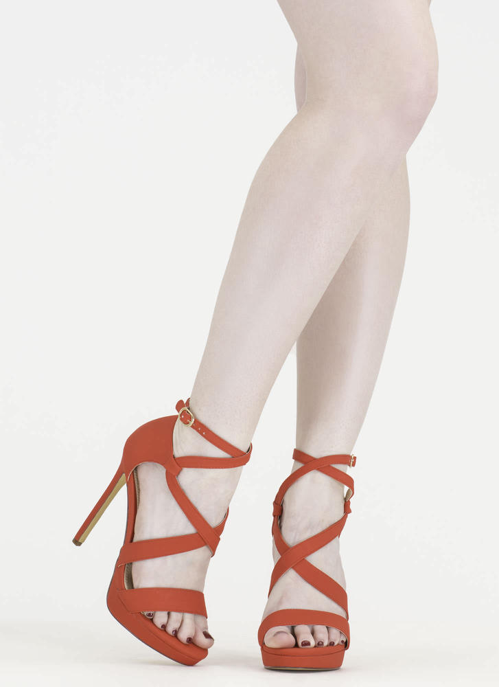 Oh Strappy Day Faux Nubuck Caged Heels RED