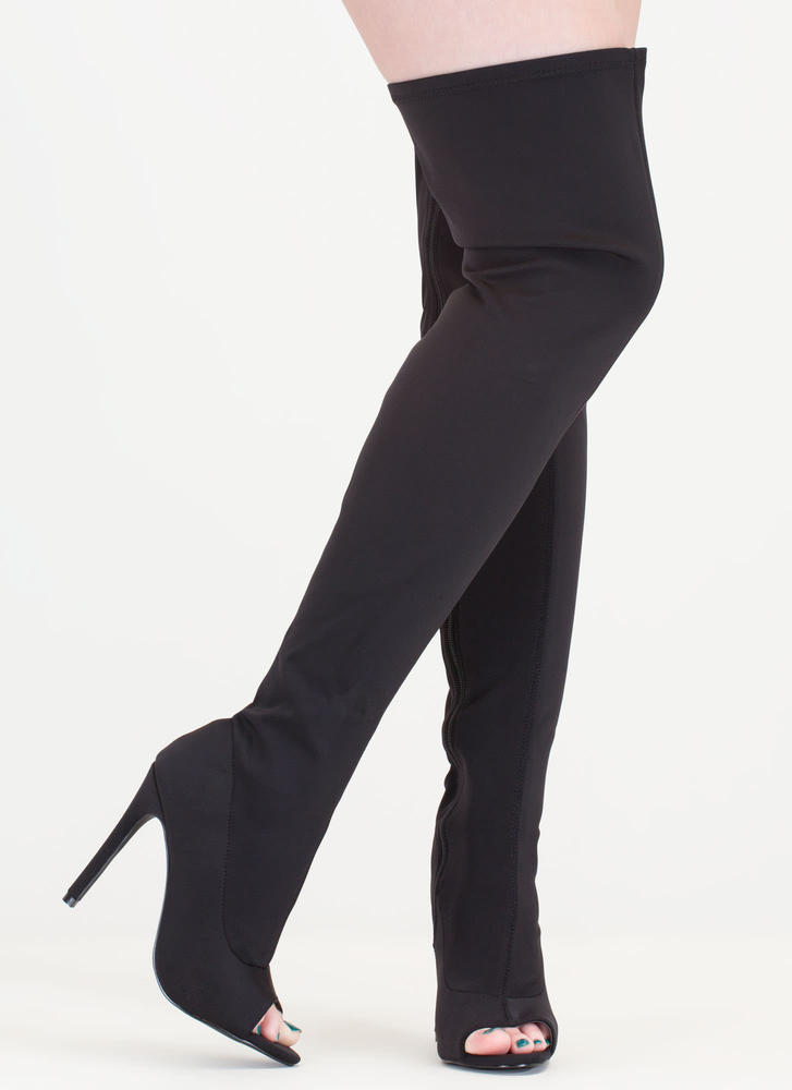 Smooth Over Peep-Toe Thigh-High Boots BLACK