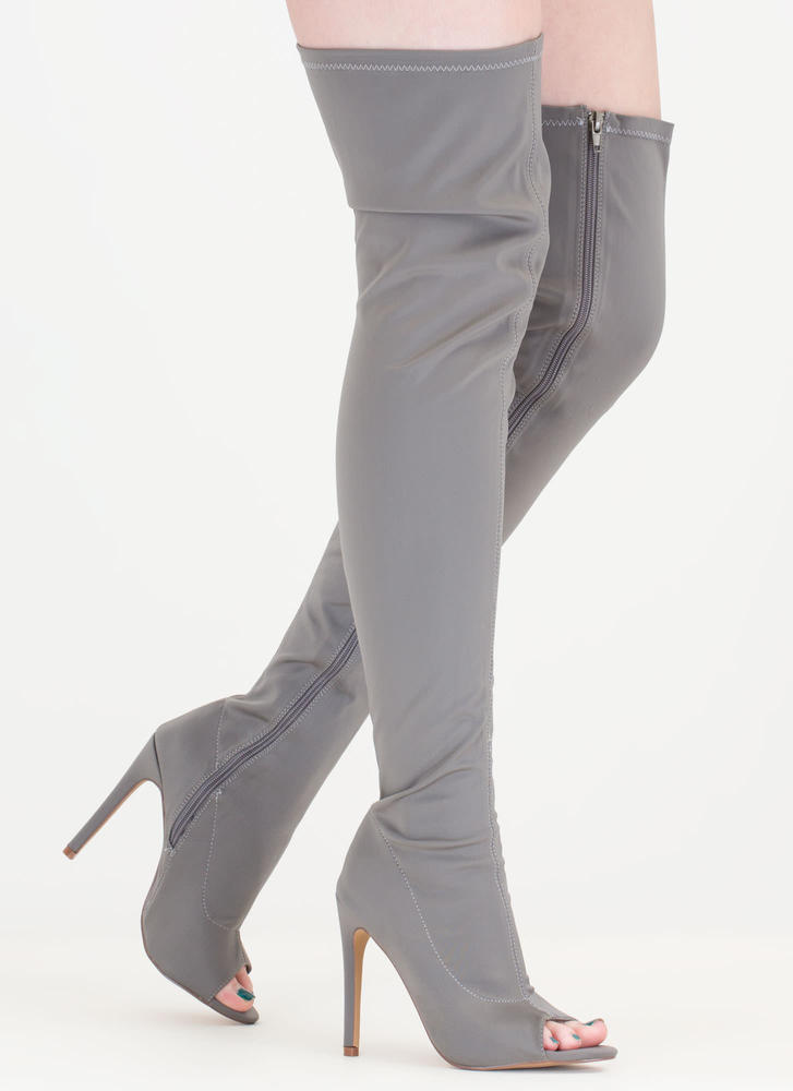 Smooth Over Peep-Toe Thigh-High Boots GREY