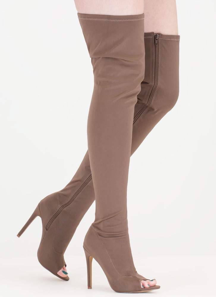 Smooth Over Peep-Toe Thigh-High Boots
