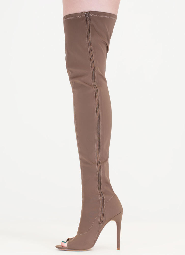 smooth stretchy thigh high peep toe stiletto boots
