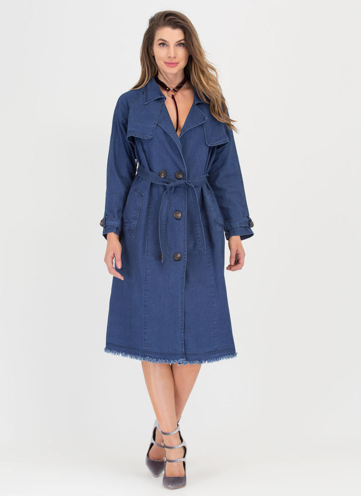 Forever Chic Belted Denim Trench Coat