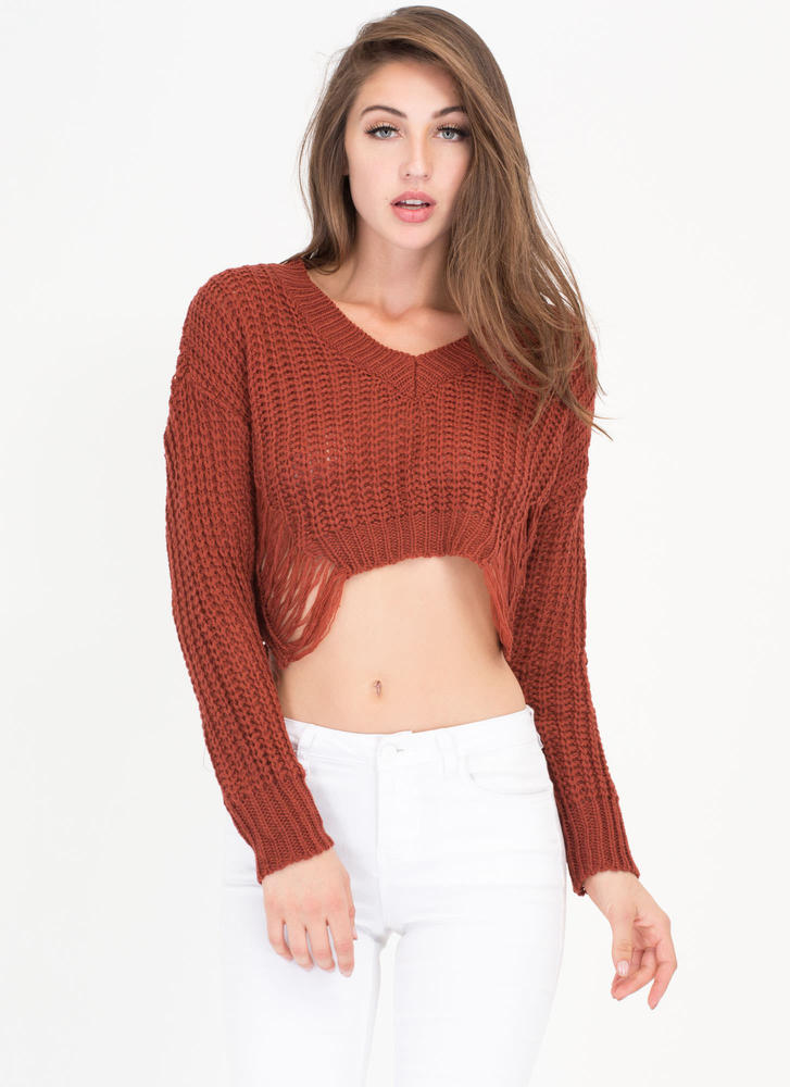 Pull Some Strings Cropped Knit Sweater COPPER (Final Sale)