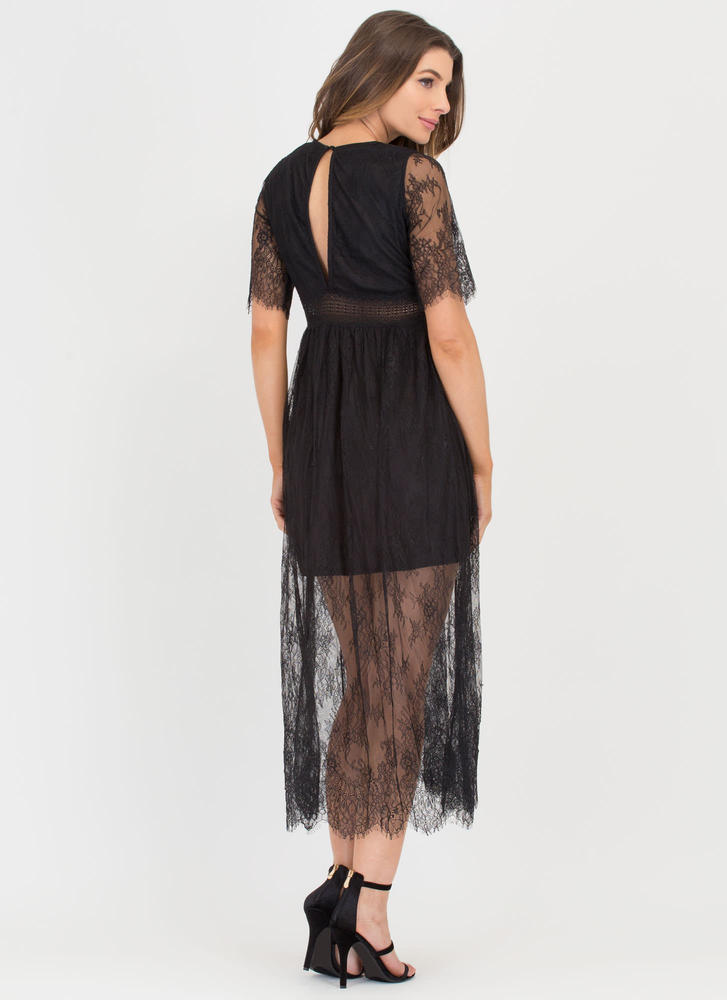 Trend Spotter Sheer Lace Maxi Dress BLACK