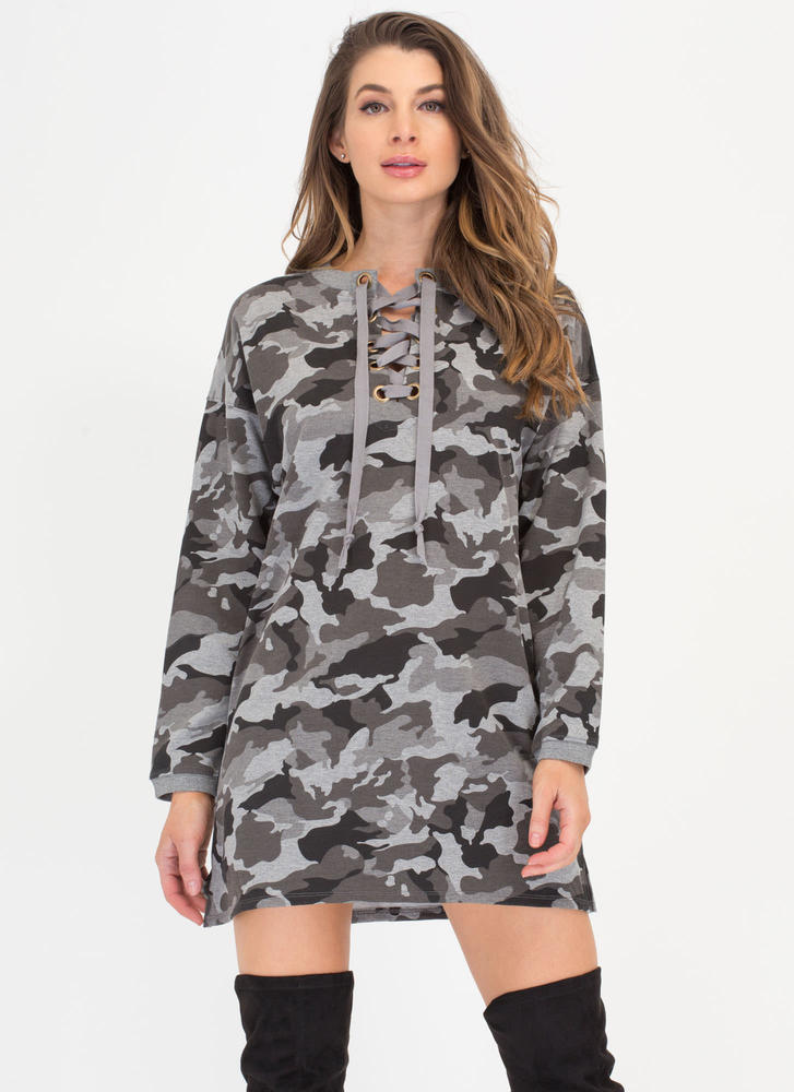 Cool In Camo Lace-Up Sweatshirt Dress GREY